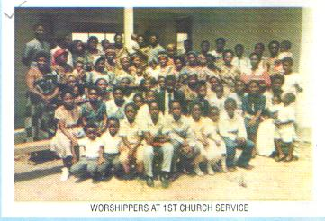 Worshippers at 1st Church Service